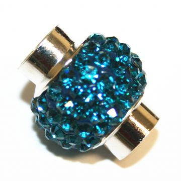 7mm - 17mm*14mm Teal stone pave crystal magnetic clasps - rhodium